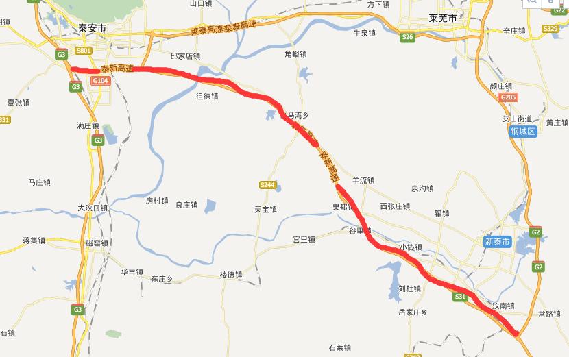 泰新高速公路线路图示