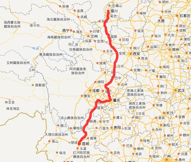 G85银昆高速公路线路图示