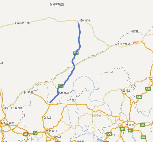 锡张高速公路(锡林郭勒盟-张家口)线路图示