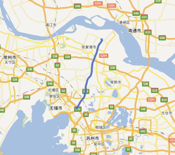 锡张高速公路(无锡-张家港)线路图示